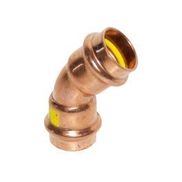 GAS Kupfer Pressfitting Bogen 45° 2 Muffen 18mm
