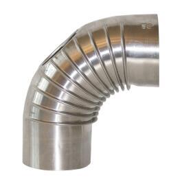 Rauchrohr Alu-Rohr Bogen 90° mit Prüföffnung
