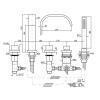 Zucchetti Aguablu 5-Loch-Wannenrandarmatur mit runder Ausziehbrause chrom